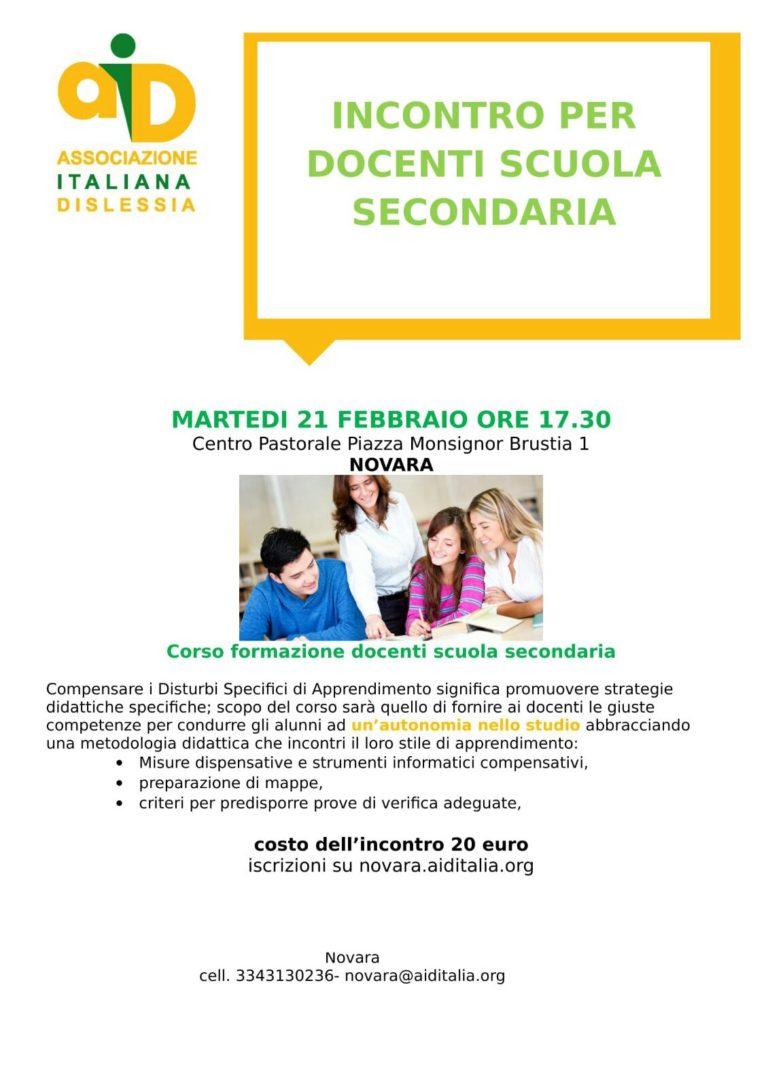 Corso di formazione per docenti della scuola secondaria: AID Novara